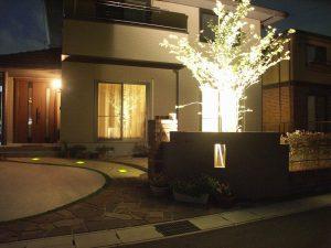 Y邸 アプローチの照明、ライトアップ
