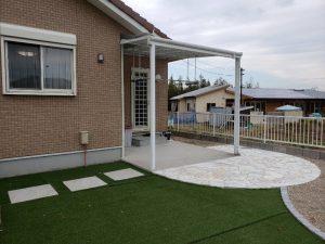 ガーデン工事!石貼りテラス や人工芝完成! 山口市阿知須K様邸